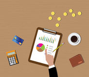 Mutual funds data graph in clipboard with gold coin wallet. Calculator  illustration Royalty Free Stock Photo