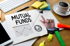 MUTUAL FUNDS Finance and Money concept , Focus on mutual fund i Royalty Free Stock Photo