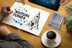MUTUAL FUNDS Finance and Money concept , Focus on mutual fund in Stock Photo