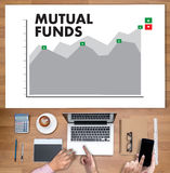 MUTUAL FUNDS Finance and Money concept , Focus on mutual fund in. Vesting Royalty Free Stock Photo