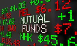 Mutual Funds Stock Tickers Scrolling Investment Options 3d Illus. Tration Royalty Free Stock Image