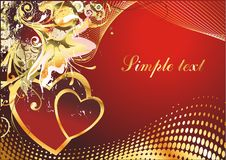Mutual love. Two hearts on a red background with a geometrical ornament Stock Photo