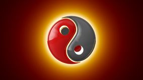 Mutual penetration. Yin Yang a mutual addition of two opposites. Eastern culture and philosophy. Artistic background. 3D animati Royalty Free Stock Images