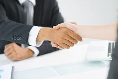 Mutual respect. Partners shaking hands to demonstrate mutual respect royalty free stock photography