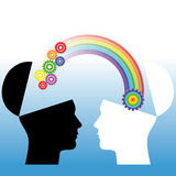 Mutual understanding. Conceptual illustration. Of human heads Royalty Free Stock Photo
