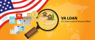 Mutuo ipotecario di prestito di VA negli Stati Uniti garantiti da U S Dipartimento degli affari di veterani Immagine Stock Libera da Diritti