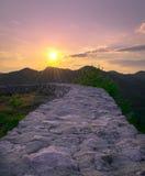 Muur aan zonsondergang Royalty-vrije Stock Fotografie