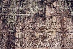 Muur in de tempel van Angkor Wat Stock Foto