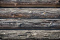 Muur die van logboeken wordt gemaakt Stock Afbeeldingen