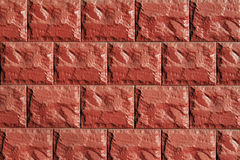 Muur die van rode steentegels wordt gemaakt Stock Fotografie