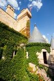 Muur en toren van Kasteel Olite, Navarre stock afbeelding