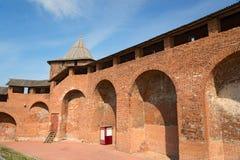 Muur en toren van Nizhny Novgorod het Kremlin royalty-vrije stock foto