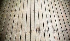 Muur en vloer die doorstane houten achtergrond opruimen Royalty-vrije Stock Foto's