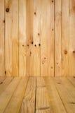 Muur en vloer die doorstane houten achtergrond opruimen uitstekend licht t Royalty-vrije Stock Afbeelding