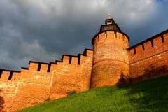 Muur het Kremlin Nizhny Novgorod Stock Foto's
