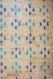 Muur met blauw tegelspatroon Stock Fotografie