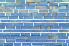Muur met blauwe bakstenen. Stock Fotografie