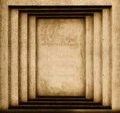 Muur met geometrische projecties in de vorm van rechthoeken Stock Foto