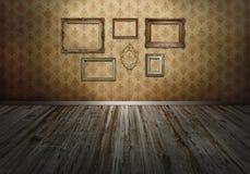 Muur met kunstkaders royalty-vrije stock afbeeldingen