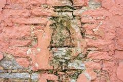 Muur met roze pleister Stock Foto's