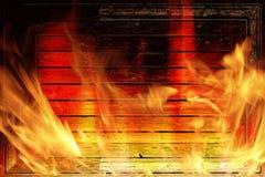 Muur op brand stock foto's