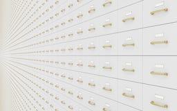 Muur van archiefkasten Stock Foto's