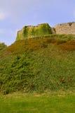 Muur van Carisbrooke-Kasteel in Nieuwpoort, het Eiland Wight, Engeland royalty-vrije stock afbeeldingen