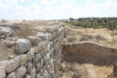 Muur van Castel en Vesting bij de Oude Bijbelse stad van Lachish, vandaag Tel. Lachish Stock Foto