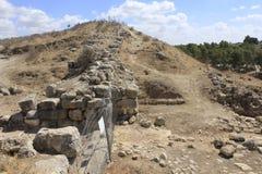 Muur van Castel en Vesting bij de Oude Bijbelse stad van Lachish, vandaag Tel. Lachish Royalty-vrije Stock Foto