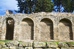 Muur van Daphni-klooster Griekenland Stock Afbeeldingen