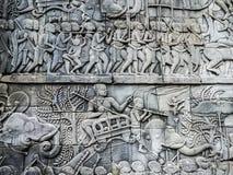 Muur van de oude Angkor-Tempel stock foto's