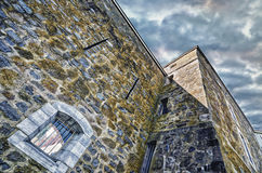 Muur van Fort Chambly, onder mening Royalty-vrije Stock Afbeeldingen