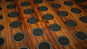 Muur van geluid vele sprekers op houten achtergrond vector illustratie