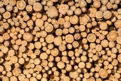 Muur van gestapelde houten logboeken stock foto's