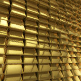 Muur van goudstaven Stock Afbeeldingen