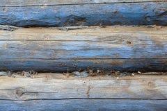 Muur van het oude logboekhuis Stock Foto