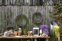 Muur van houten schuur Stock Foto's