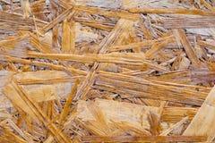 Muur van houten vlokkenhoogtepunt van textuur en willekeurig patroon Stock Foto's