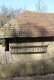 Muur van stal met ladder in Hooglanden dichtbij Myjava Royalty-vrije Stock Foto's