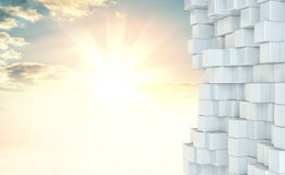 Muur van witte kubussen tegen mooie zonsopgang Stock Afbeelding