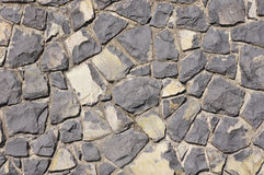 Muur van zwarte vulkanische rotsenclose-up Royalty-vrije Stock Afbeeldingen