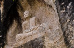 Muurart. Wat Tham Phaen, de Provincie van Sakon Nakhon royalty-vrije stock fotografie