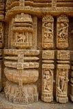 Muurbeeldhouwwerk van Zontempel Stock Afbeeldingen