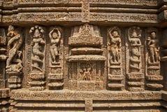 Muurbeeldhouwwerk van Zontempel Stock Foto