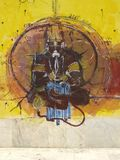 Muurgraffiti van hanuman ji op tempelmuren Stock Fotografie