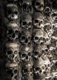 Muurhoogtepunt van schedels en beenderen stock afbeeldingen