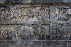 Muurhulp van oude Borobudur-tempel dichtbij Yogyakarta, Java, Indonesië Royalty-vrije Stock Afbeeldingen