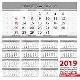 2019 Muurkalender in Engelse talen Weekbegin van Zondag stock illustratie