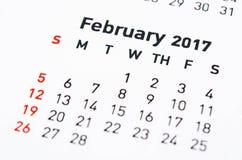 Muurkalender Februari Royalty-vrije Stock Foto's