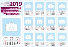 Muurkalender 2019 grootte A3 Engelstalig, weekbegin van Su vector illustratie